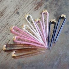 Vintage Hair Pin with Crystals: Available in Black, Hot Pink, Ivory, Pink, and Tortoise Shell