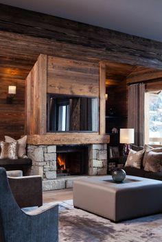 transformer une cheminee rustique en contemporaine en bois vitres noires