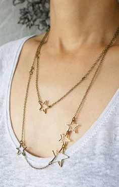 Statement star necklace multiple stars long by SoraDesignsBlack