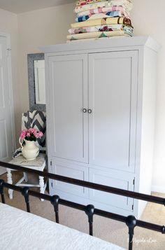 Gray chalk-painted armoire (repurposed entertainment center) | 11 Magnolia Lane