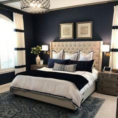 Fancy Bedroom, Blue Master Bedroom, Blue Bedroom Decor, Master Bedroom Interior, Bedroom Colors, White Bedroom, Master Bedroom Color Ideas, Adult Bedroom Ideas, Modern Luxury Bedroom