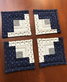 Quilted Nautical Coasters, Americana Log Cabin Quilted Coasters - Navy Blue & Creamy White, set of 4 Quilted Coasters, Fabric Coasters, Blue Quilts, Small Quilts, Summer Quilts, Log Cabin Quilts, Mug Rugs, Beach House Decor, Office Gifts