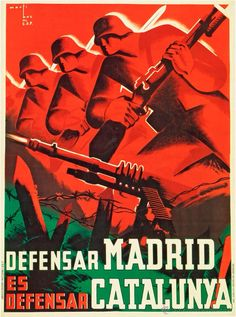 Wee Blue Coo War Propaganda Spanish Civil Madrid Catalonia Spain Anti Fascist Unframed Wall Art Print Poster Home Decor Premium Party Poster, Poster On, Poster Prints, Madrid, Propaganda Art, Political Posters, Travel And Tourism, Civilization, Vintage Posters