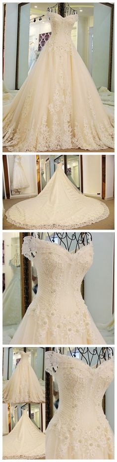A-line Princess Off-the-Shoulder Wedding Dresses, Gorgeous Appliqued Wedding Dresses. ASD2626 sweep train gorgeous wedding dresses, shiny beaded wedding dresses for autumn