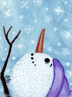 Snowman Watercolor Painting Winter Snowflakes Lavender Original ACEO ART Goeben