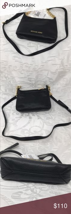 """MICHAEL Michael Kors Bedford Crossbody NWT Brand: MICHAEL Michael Kors Style/Model: Bedford Crossbody Color: Black w/gold-toned hardware Material: Pebbled leather Dimensions: 8 1/2""""W X 6""""H X 2 1/2""""D Handle Drop: Adjustable to 21 """" drop strap  - Gold-tone hardware, accent chains on strap - Zip top closure, outside snap pocket - Inside - Two (2) slip pockets, one (1) zip pocket - MK signature black lining - 8 1/2""""W X 6""""H X 2 1/2"""" D - Adjustable to 21 1/2"""" Crossbody/shoulder strap drop  🌻🌻…"""