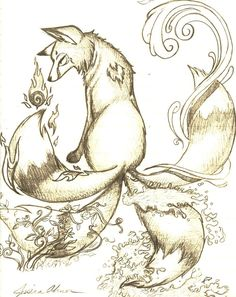 kitsune doodle by Pokemon Ninetales, Inktober, Japanese Fox, Traditional Japanese Tattoos, Wolf Pictures, Fox Art, Creature Feature, Character Illustration, Animal Drawings