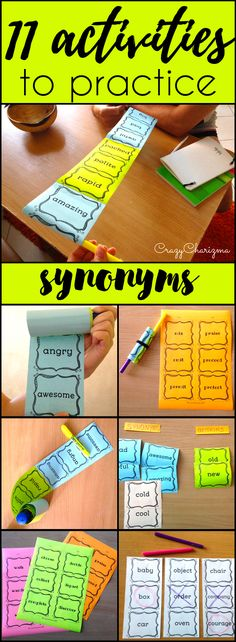 Find inside engaging and interactive synonyms activities -  11 variants how to use cards with 360 words!!! Your kids will definitely love synonyms after these fun activities! (L.4.5C, L.5.5C) $   CrazyCharizma at https://www.teacherspayteachers.com/Store/Crazycharizma