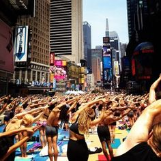 Solstice yoga in times square