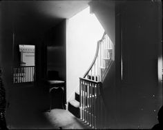 Staircase, 1912 - with view toward upper level of Entrance Hall. The likely reason the Dome Room that Jefferson intended as a ballroom was never used as such is that the only access to the third floor is via two steep, narrow staircases. MONTICELLO, Charlottesville, Virginia | built by Thomas Jefferson 1772-1809 Jefferson Monticello, Narrow Staircase, Historic Houses, Three Floor, Thomas Jefferson, Charlottesville, Judges, Entrance Hall, Staircases