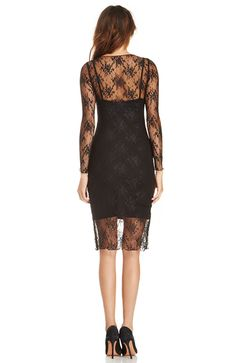 Lace spaghetti strap slim long-sleeve racerback slim hip dress