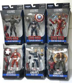 Marvel Legends Civil War Captain America BAF Giant Man Set of 6 Fury Panther Nick Fury Marvel, Captain America Comic, Captain America Civil War, Man Set, Comic Book Heroes, Marvel Legends, Black Panther, Action Figures, Dolls