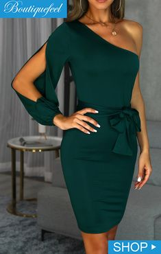 2019 Fashion Women One Shoulder Dress Sexy Slit Long Sleeve Bodycon Party Dress Elegant Bowknot Night Club Midi Dress Sexy Dresses, Evening Dresses, Fashion Dresses, Work Dresses, Bodycon Dress With Sleeves, Peplum Dress, One Sleeve Dress, Long Sleeve, Sleeve Dresses