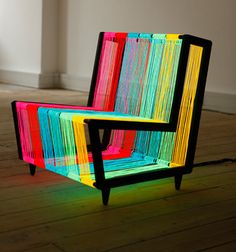 The Disco Chair is a bespoke illuminated furniture concept. Constructed from 200 linear metres of Electroluminescent wire, the chair transforms into a neon rainbow when powered. A pulse setting enables the chair to flash on and off creating an instant disco installation.