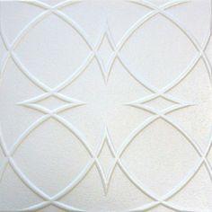 Eta R23W 20 x 20 Tin Looking Styrofoam Glue Up White Ceiling Tile