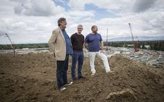 """••Jony Ive / Tim Cook / Stephen Fry•• at the CA, Cupertino Apple Motherhship campus II construction site (photo: Gabriela Hasbun for The Telegraph 2015-05-26) •article by Fry """"When Stephen Fry met Jony Ive: the self-confessed tech geek meets Apple's newly promoted chief design officer"""" (to talk spaceships, design & Steve Jobs...) • Ive will spend more time on design and travelling • Ive lieutenants promoted to key new role • another Brit, Richard Howarth, becomes head of industrial design"""
