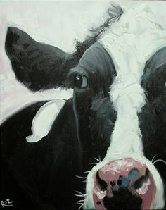 Cow painting 691 16x20 inch animal original oil painting by Roz