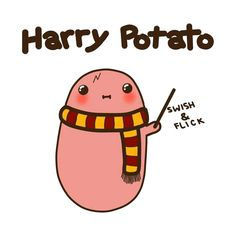 Combining my to fave things, Harry Potter and Kawaii! Arte Do Harry Potter, Cute Harry Potter, Harry Potter Drawings, Harry Potter Jokes, Harry Potter Pictures, Harry Potter Fandom, Potato Funny, Cute Potato, Potato Meme
