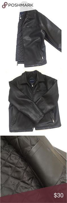 Men's • Faux • Leather • Coat Men's black faux leather coat, has one interior pocket, three exterior pockets with zippers, quilted on the inside to give a warmer feel. This coat has a heavy feel.   🔶Brand • Austin Clothing Co.   🔶Size • Large, husband wears an XL-XXL and it fits, this coat has plenty of room to move around.  🔶Condition • Has been worn with much care, in good condition.  🔶Measurements upon request. Austin Clothing Co. Jackets & Coats