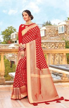 Product ID: Work Type: Weaving Saree Color: Red Blouse Color: Red Saree Fabric: Art Silk Blouse Fabric: Art Silk Saree Size: Metres Blouse Piece Size: Metres Blouse is delivered Unstitched Note: Art Silk Sarees, Banarasi Sarees, Lehenga, Red Saree, Saree Look, Salwar Kameez, Kurti, Traditional Sarees, Party Wear Sarees