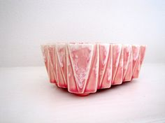 UPCO UNGEMACH Pink Geometric Candy Dish, Accordian Planter, Marked 277 USA, Vintage Pottery