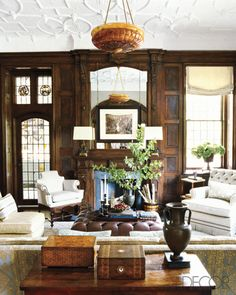 Designer Steven Gambrel brings new life to the library in a historic Tudor home in NY. Elle Decor.