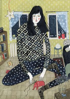 I love the pattern mixing in this print by Yelena Bryksenkova