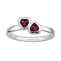 Stacks and Stones Sterling Silver Rhodolite Garnet Heart Stack Ring, Women's, Size: