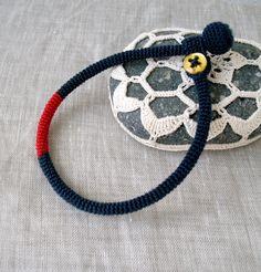 "Crochet Bracelet - Mens Bracelet - Skinny Wrap Bracelet - Unisex Bracelet - Crochet Jewelry - Men's Gift - Navy Blue and Red - Fits 8"" Wrist. $25.00, via Etsy."