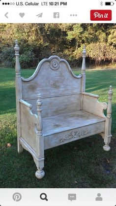DIY Repurposed Furniture. Old Bed upcycled into a lovely chair. Follow rickysturn/diy-home-decor: