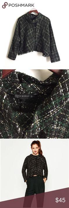 New Zara Frayed Tweed Top ▫️Zara Frayed Tweed Top ▫️Color: Black, Green, Cream Tweed ▫️True to Size (see measurements) ▫️New Without Tags Never Worn Zara Top Zara Tops