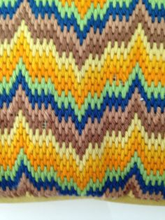 Vintage Retro Bargello Pillow 1970s Needlepoint por musteredgrace