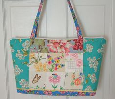 Vintage Embroidery and Feedsack Patchwork Tote by georgiapeachez, $28.00