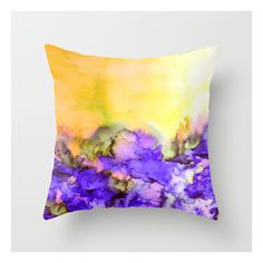 Into Eternity, Yellow And Lavender Purple Colorful… Throw Pillow (36 BAM) ❤ liked on Polyvore featuring home, home decor, throw pillows, floral throw pillows, lavender throw pillows, purple throw pillows, lilac throw pillows and purple home accessories