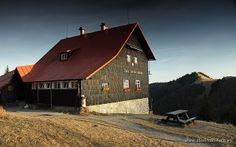 Mountain hut in the Greater Fatra, Slovakia.  www.simplycarpathians.com Mountain, Cabin, House Styles, Home, Cabins, Ad Home, Homes, Cottage, House
