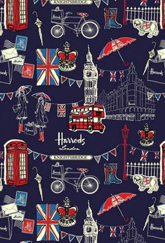 Great London-themed Harrods illustration