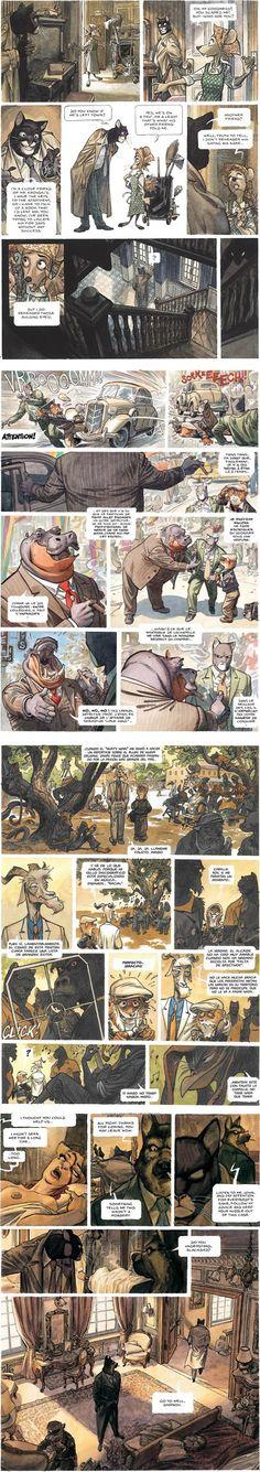 Blacksad... ¡cómic recomendadísimo realizado por dos españoles!    Blacksad (Juanjo Guarnido) -  stunning comic art, wonderfully realized characters, and beautifully rendered backgrounds and settings.