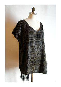 Image of Tunic Hupil Dress in Black and Gold Rebozo Textile cotton ikat hand woven textile mexico www.mexchic.co