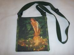 The spectacular small purse is based on a painting from EDWARD ROBERT #HUGHES (1851–1917) titled Midsummer Eve. The original was watercolor and gouache on paper mounted on c... #fairytale #fantasy #art #vintageart #fairytalart #tote #shoulder #handmade #fairy #hughes #vintage #cotton #eco-friendly