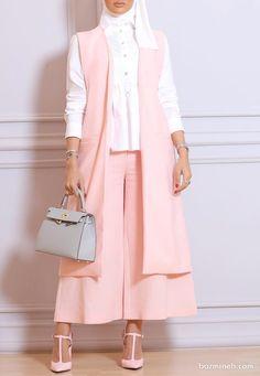 سارافن و شلوار ست گلبهی رنگ همراه با شومیز سفید رنگ ترکیبی ساده و شیک برای مراسم عقد محضری Modern Hijab Fashion, Abaya Fashion, Muslim Fashion, Suit Fashion, Best Casual Outfits, Classy Outfits, Fashion Drawing Dresses, Fashion Dresses, Abaya Mode