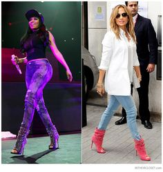Nicki Minaj and Jennifer Lopez wearing Christian Louboutin Guerilla Spiked Open Toe Slouchy Ankle Boots