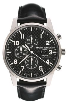 New Chronograph from a collection at Maurice de Mauriac.  http://mauricedemauriac.ch/home.php