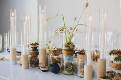 candles and wood for a modern tablescape Terrarium Centerpiece, Bottle Centerpieces, Unique Wedding Centerpieces, Wedding Venue Decorations, Wedding Renewal Vows, Wedding Designs, Wedding Trends, Wedding Blog, Floral Wedding