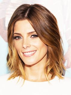 Ashley Greene rocks a lob with light layers. // #Hair