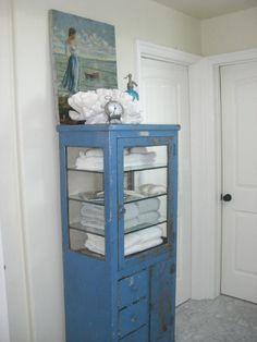 bathrooms - cabinet, towels, bathroom,  Antique dental cabinet,  restoration hardware towels