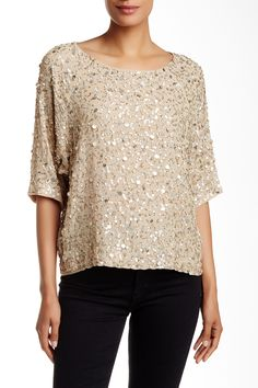 3/4 Sleeve Sequined Blouse by Nicole Miller on @nordstrom_rack