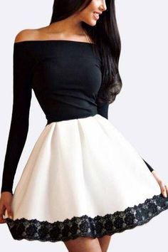 Off Shouder Dress with Lace Hem, make it knee length for a darling party dress.