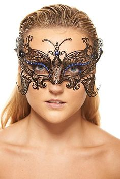 KAYSO INC Gorgeous Butterfly Metal Laser Cut Masquerade Mask, Black with Blue Stones