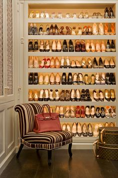 Closet full of shoes, fabulous Louis Vuitton luggage, and a beautiful house design home design room design design Master Closet, Walk In Closet, Shoe Closet, Shoe Wardrobe, Shoe Room, Closet Space, Master Bedroom, Bag Closet, Bedroom Decor
