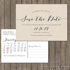 Printable Save the Date Postcard  the Bailey by HowLovelyPaper